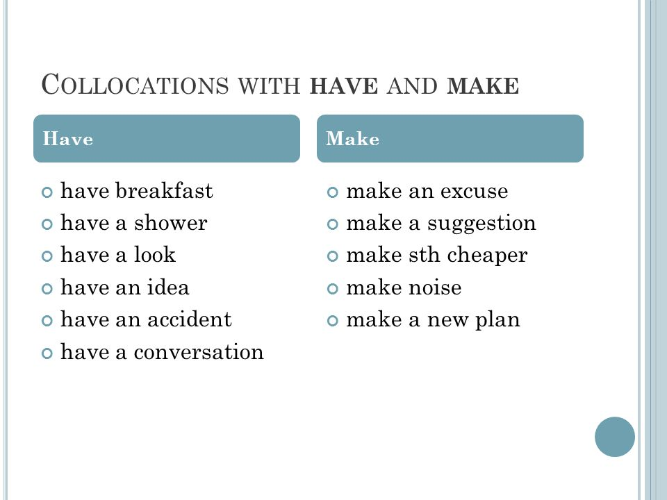 C OLLOCATIONS WITH HAVE AND MAKE have breakfast have a shower have a look have an idea have an accident have a conversation make an excuse make a suggestion make sth cheaper make noise make a new plan HaveMake