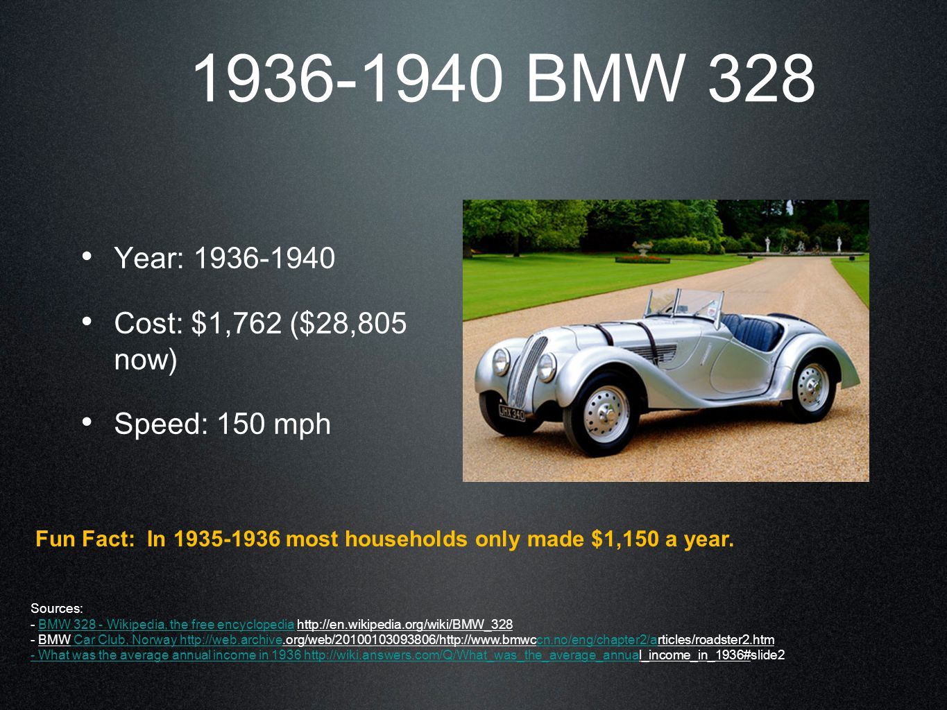 1936-1940 BMW 328 Year: 1936-1940 Cost: $1,762 ($28,805 now) Speed: 150 mph Fun Fact: In 1935-1936 most households only made $1,150 a year.