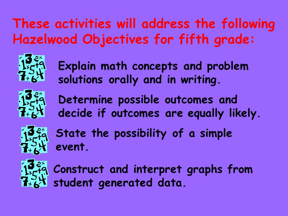 These activities will address the following Hazelwood Objectives for fifth grade: State the possibility of a simple event.