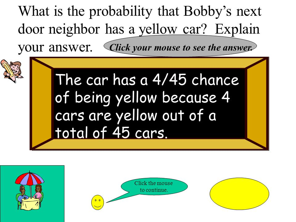What is the probability that Bobbys next door neighbor has a yellow car.