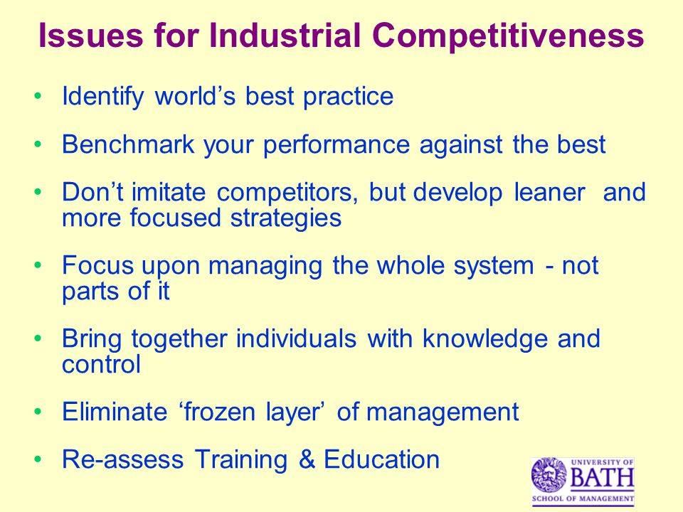 Issues for Industrial Competitiveness Identify worlds best practice Benchmark your performance against the best Dont imitate competitors, but develop leaner and more focused strategies Focus upon managing the whole system - not parts of it Bring together individuals with knowledge and control Eliminate frozen layer of management Re-assess Training & Education