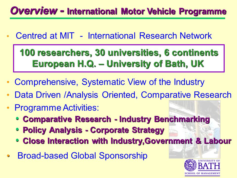 Centred at MIT - International Research Network 100 researchers, 30 universities, 6 continents European H.Q.