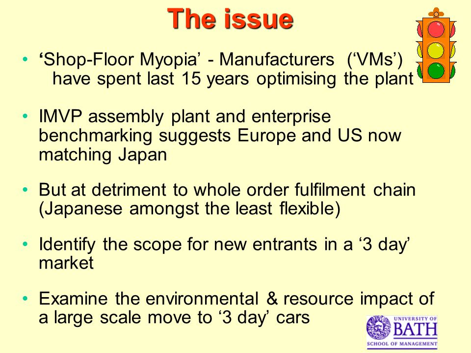 The issue Shop-Floor Myopia - Manufacturers (VMs) have spent last 15 years optimising the plant IMVP assembly plant and enterprise benchmarking suggests Europe and US now matching Japan But at detriment to whole order fulfilment chain (Japanese amongst the least flexible) Identify the scope for new entrants in a 3 day market Examine the environmental & resource impact of a large scale move to 3 day cars
