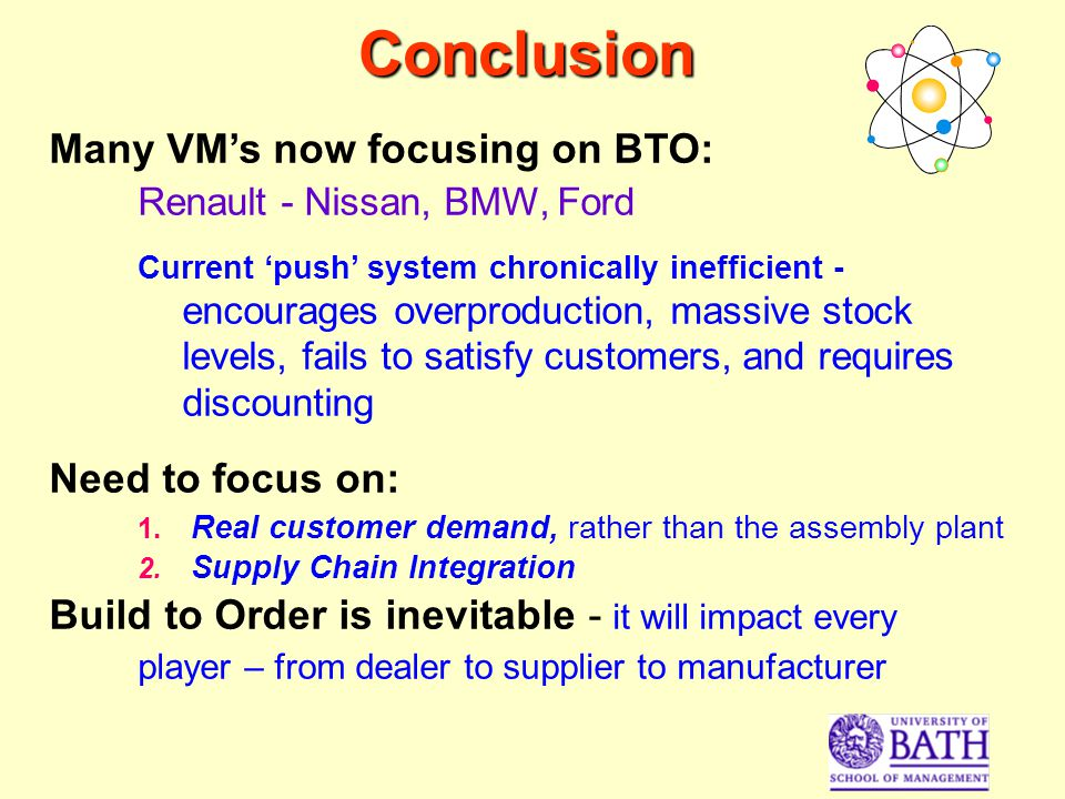 Conclusion Many VMs now focusing on BTO: Renault - Nissan, BMW, Ford Current push system chronically inefficient - encourages overproduction, massive stock levels, fails to satisfy customers, and requires discounting Need to focus on: 1.