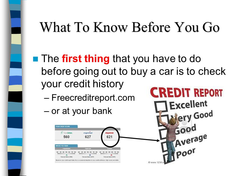 What To Know Before You Go The first thing that you have to do before going out to buy a car is to check your credit history –Freecreditreport.com –or at your bank