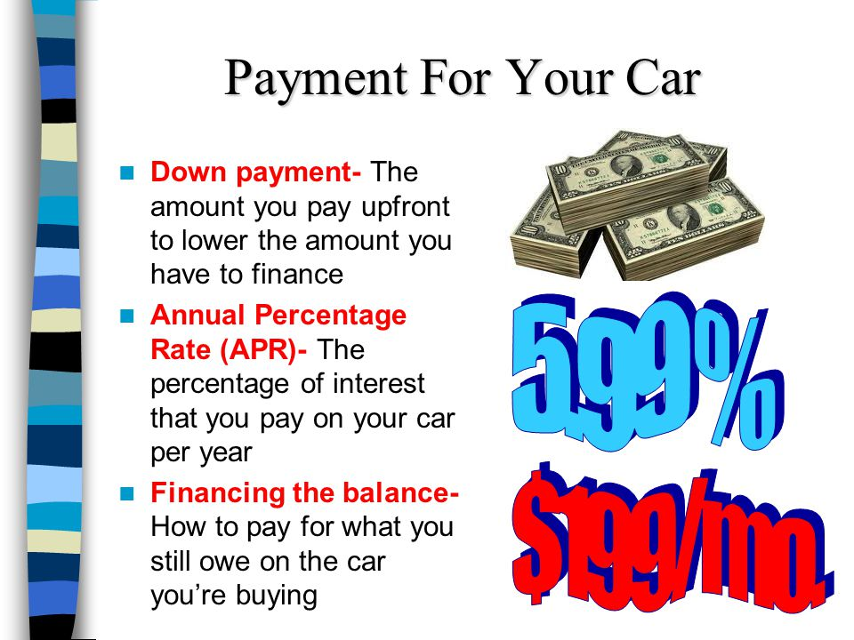Payment For Your Car Down payment- The amount you pay upfront to lower the amount you have to finance Annual Percentage Rate (APR)- The percentage of interest that you pay on your car per year Financing the balance- How to pay for what you still owe on the car youre buying