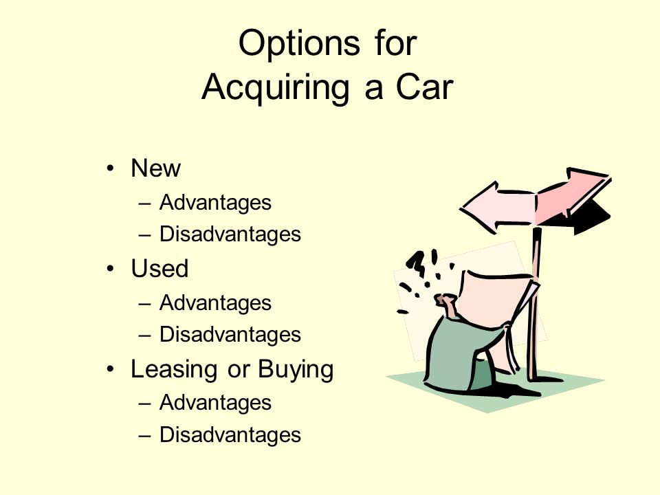 Find a car you like. Find and select method of financing the car.