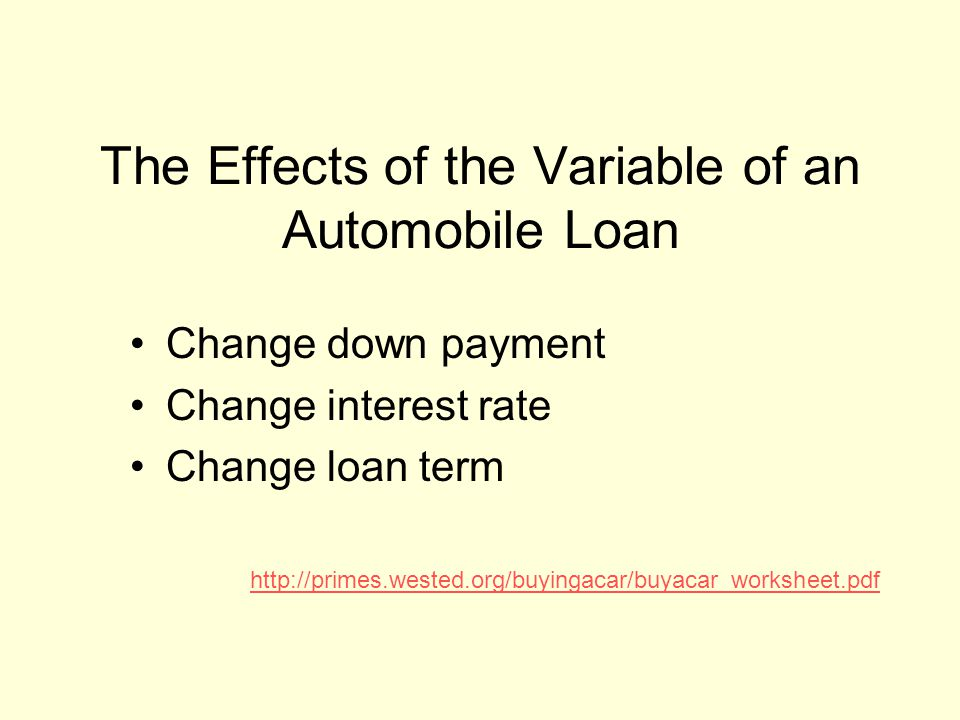 Variables used in Achieving Monthly Payments Vehicle Price Down payment or no down payment State Sales Tax Financial Institutions Interest Rates