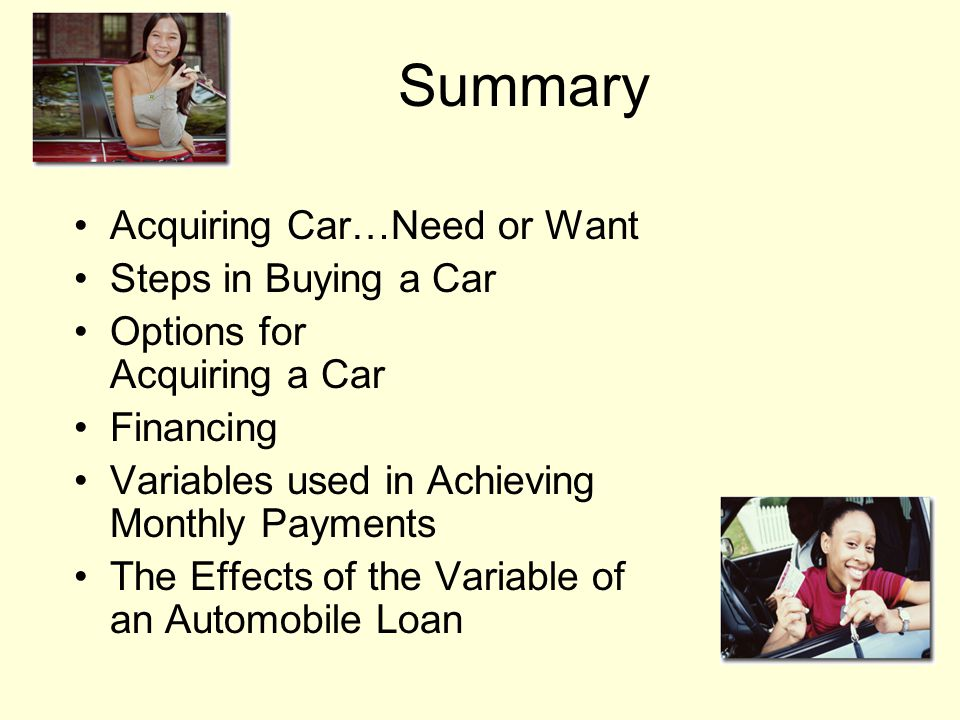 The Effects of the Variable of an Automobile Loan Change down payment Change interest rate Change loan term