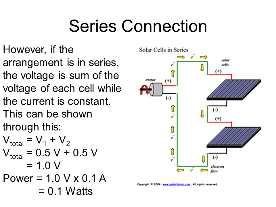Series Connection However, if the arrangement is in series, the voltage is sum of the voltage of each cell while the current is constant. This can be