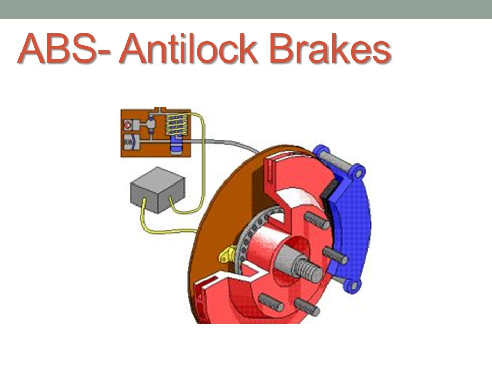 ABS- Antilock Brakes Anti lock brakes allows you to steer around obstacles if you can t stop in time as a skidding vehicle can t be properly steered.