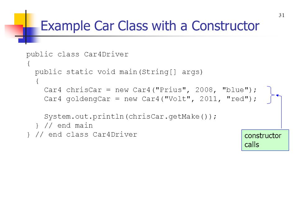 Constructors A constructor lets you specify what happens to an object when it is instantiated with new.