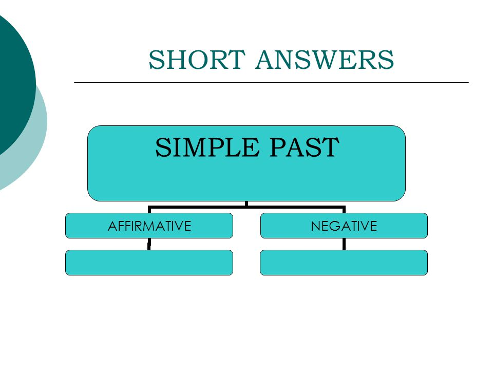 SHORT ANSWERS SIMPLE PAST AFFIRMATIVENEGATIVE