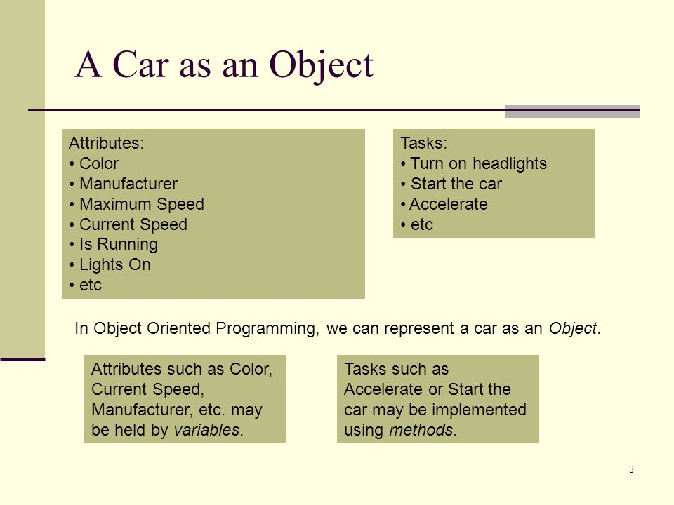 A Car as an Object 3 Attributes: Color Manufacturer Maximum Speed Current Speed Is Running Lights On etc Tasks: Turn on headlights Start the car Accel