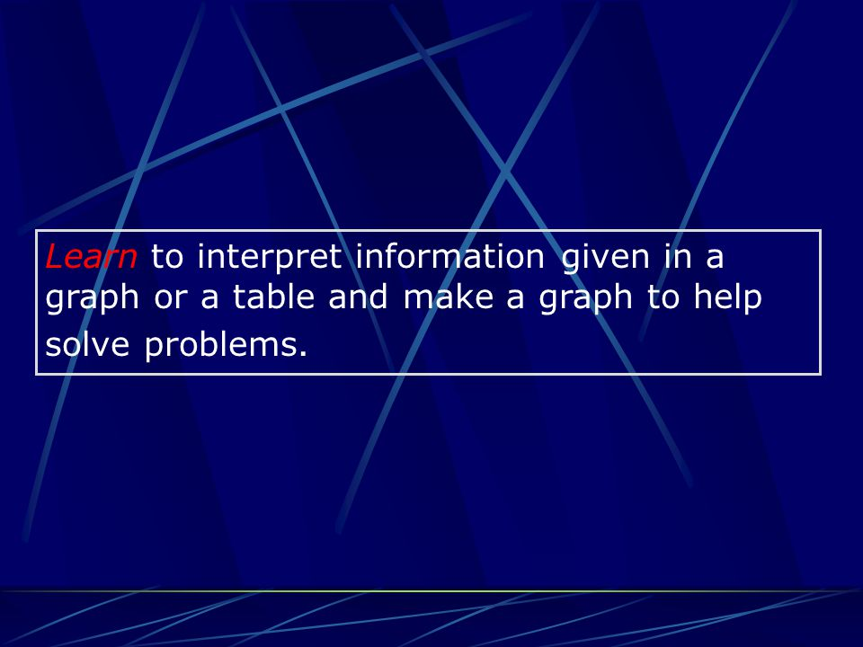 Learn to interpret information given in a graph or a table and make a graph to help solve problems.