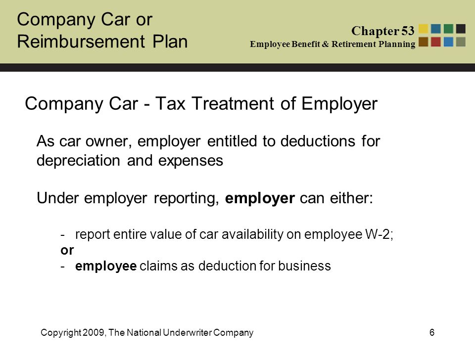 Company Car or Reimbursement Plan Chapter 53 Employee Benefit & Retirement Planning Copyright 2009, The National Underwriter Company6 Company Car - Ta