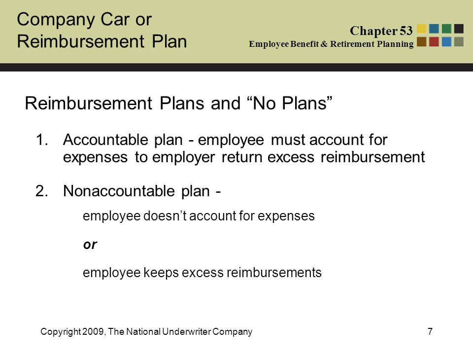 Company Car or Reimbursement Plan Chapter 53 Employee Benefit & Retirement Planning Copyright 2009, The National Underwriter Company7 Reimbursement Plans and No Plans 1.Accountable plan - employee must account for expenses to employer return excess reimbursement 2.Nonaccountable plan - employee doesnt account for expenses or employee keeps excess reimbursements