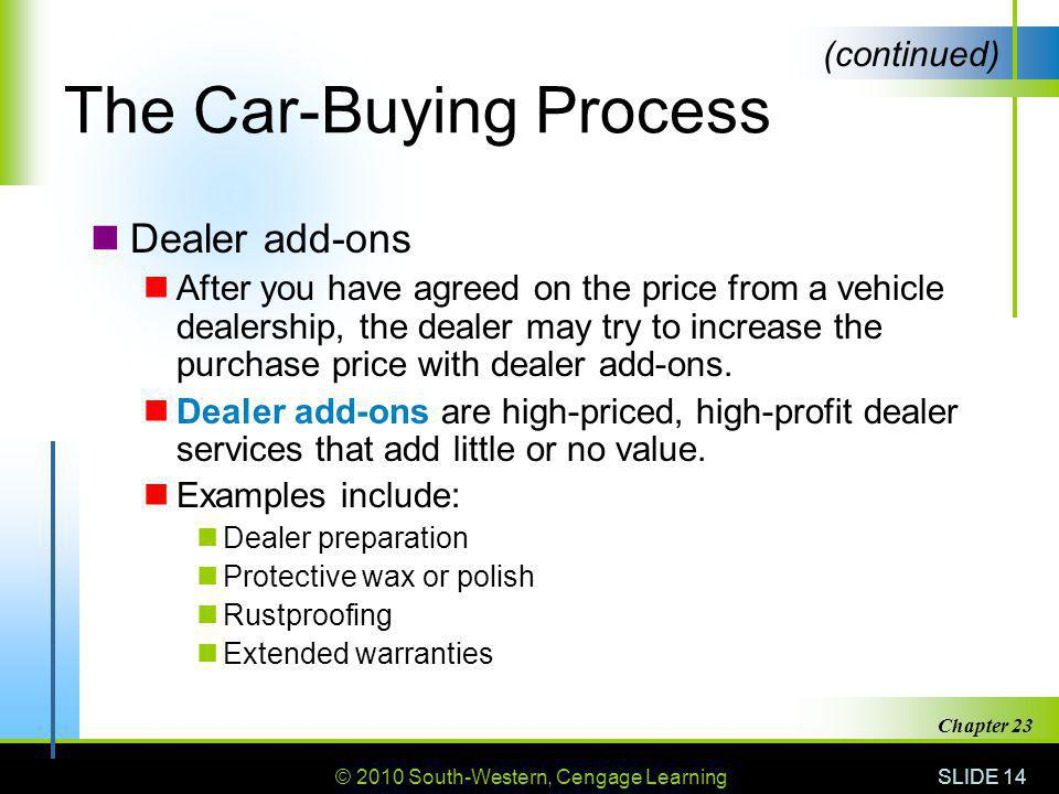 © 2010 South-Western, Cengage Learning SLIDE 14 Chapter 23 The Car-Buying Process Dealer add-ons After you have agreed on the price from a vehicle dea