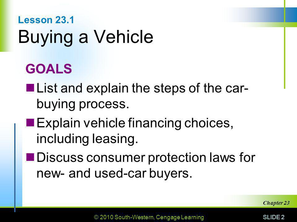 © 2010 South-Western, Cengage Learning SLIDE 3 Chapter 23 The Car-Buying Process Identify your needs and wants.