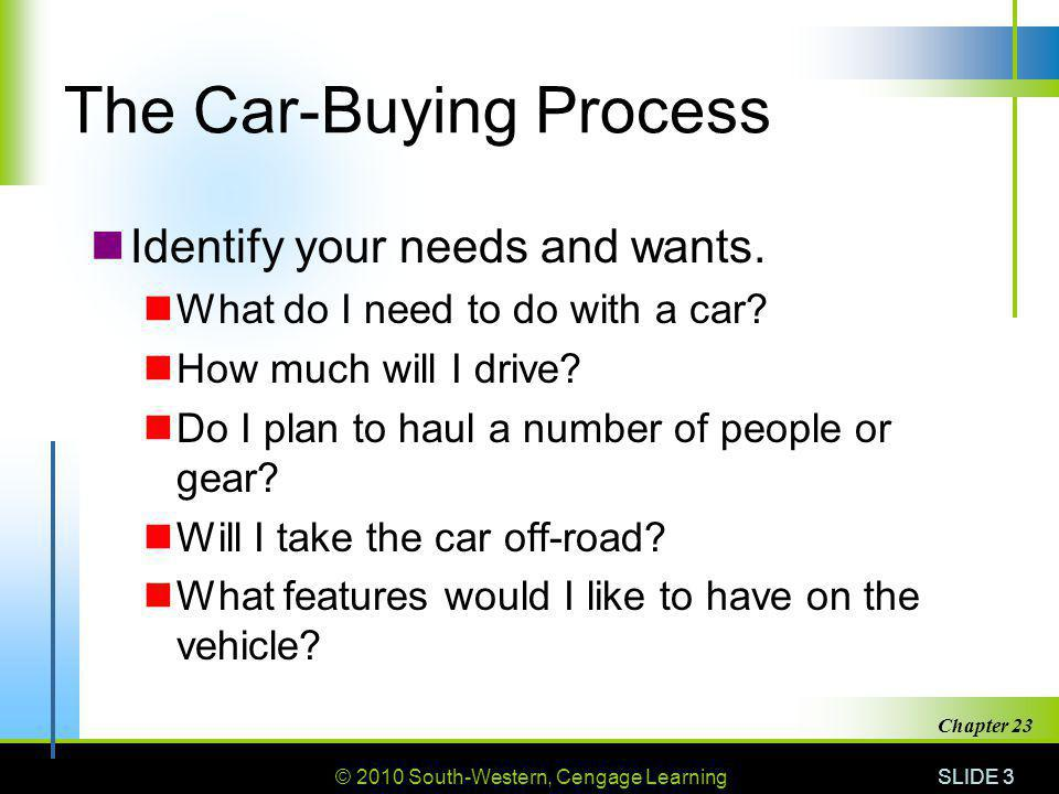 © 2010 South-Western, Cengage Learning SLIDE 3 Chapter 23 The Car-Buying Process Identify your needs and wants. What do I need to do with a car? How m