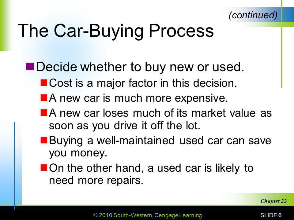 © 2010 South-Western, Cengage Learning SLIDE 17 Chapter 23 New Car Warranties A new-car warranty provides a buyer with some assurance of quality.