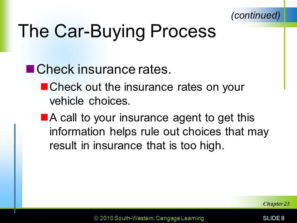 © 2010 South-Western, Cengage Learning SLIDE 9 Chapter 23 The Car-Buying Process Search for available vehicles.
