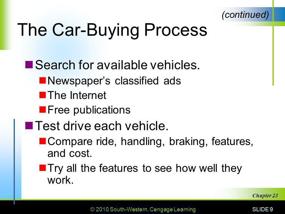 © 2010 South-Western, Cengage Learning SLIDE 9 Chapter 23 The Car-Buying Process Search for available vehicles. Newspapers classified ads The Internet