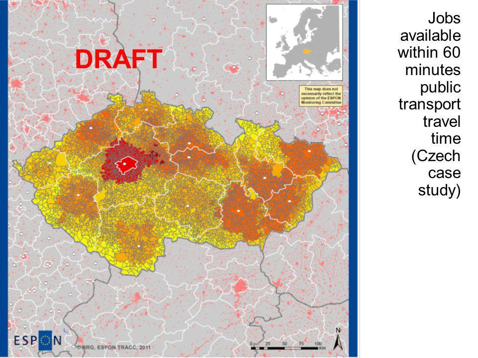 Jobs available within 60 minutes public transport travel time (Czech case study) DRAFT