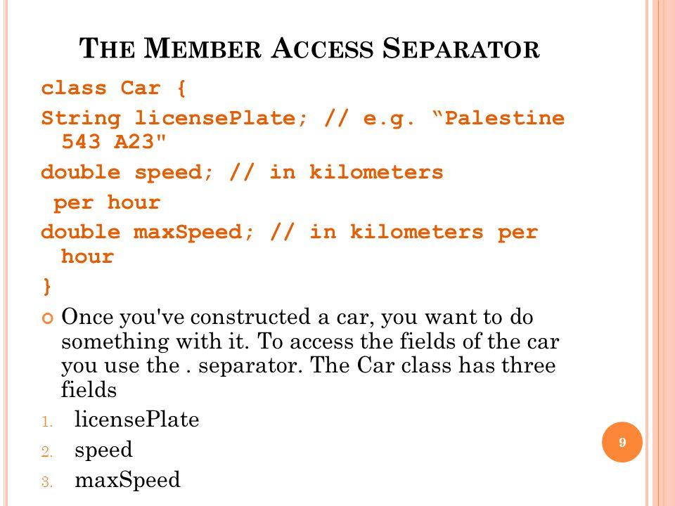 T HE M EMBER A CCESS S EPARATOR class Car { String licensePlate; // e.g. Palestine 543 A23