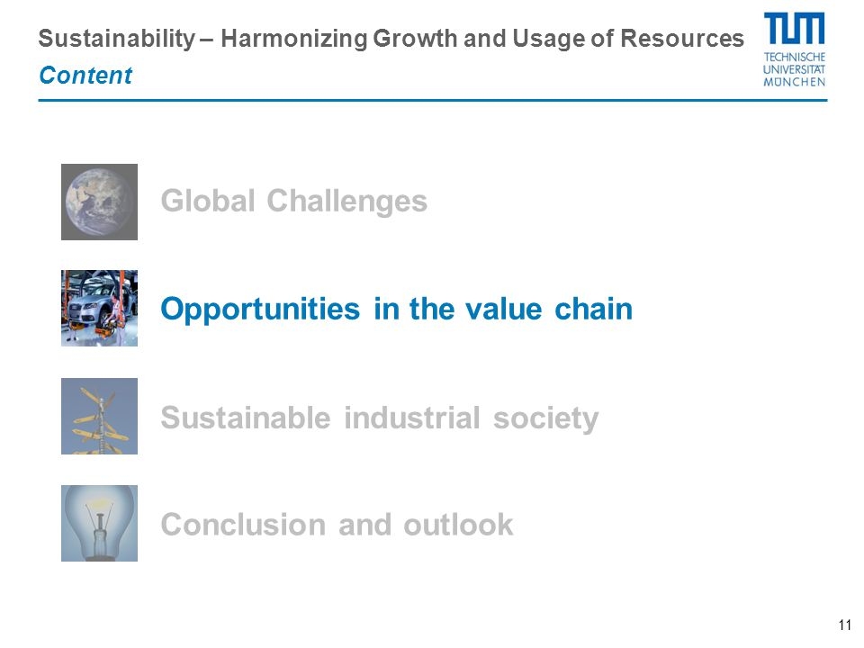 11 Sustainable industrial society Content Opportunities in the value chain Global Challenges Conclusion and outlook Sustainability – Harmonizing Growt