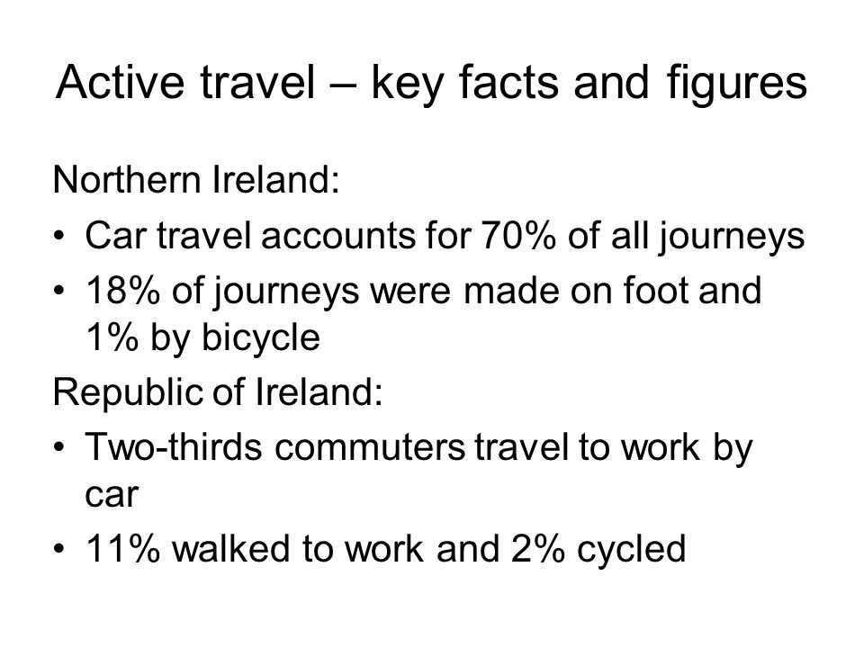 Active travel – key facts and figures Northern Ireland: Car travel accounts for 70% of all journeys 18% of journeys were made on foot and 1% by bicycle Republic of Ireland: Two-thirds commuters travel to work by car 11% walked to work and 2% cycled
