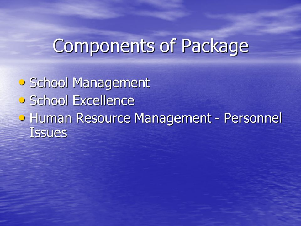 Components of Package School Management School Management School Excellence School Excellence Human Resource Management - Personnel Issues Human Resource Management - Personnel Issues