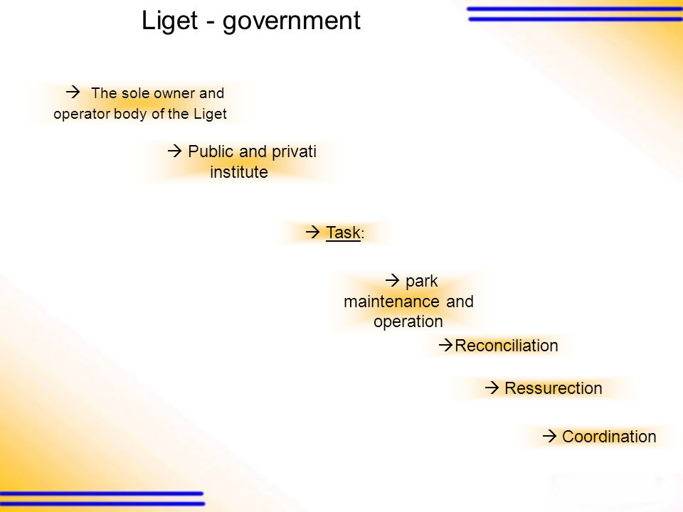 The sole owner and operator body of the Liget Public and privati institute Task : park maintenance and operation Ressurection Coordination Reconciliation