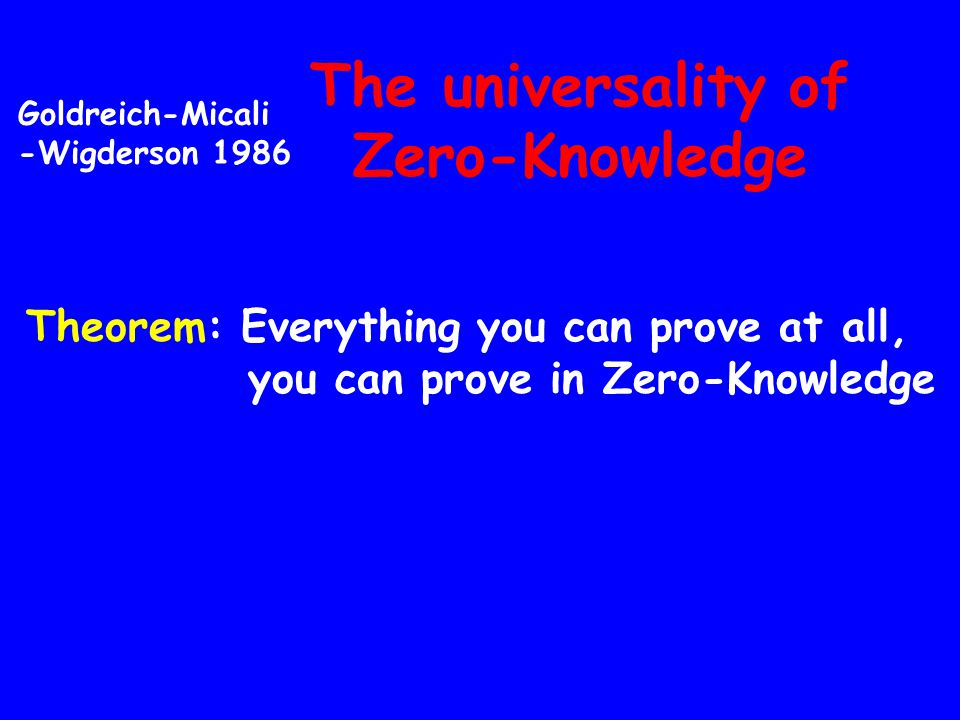 The universality of Zero-Knowledge Theorem: Everything you can prove at all, you can prove in Zero-Knowledge Goldreich-Micali -Wigderson 1986