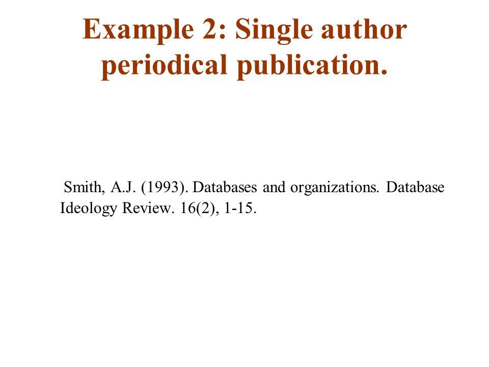 Example 2: Single author periodical publication. Smith, A.J.
