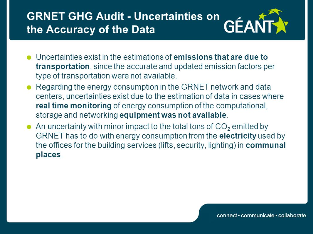 connect communicate collaborate GRNET GHG Audit - Uncertainties on the Accuracy of the Data Uncertainties exist in the estimations of emissions that are due to transportation, since the accurate and updated emission factors per type of transportation were not available.