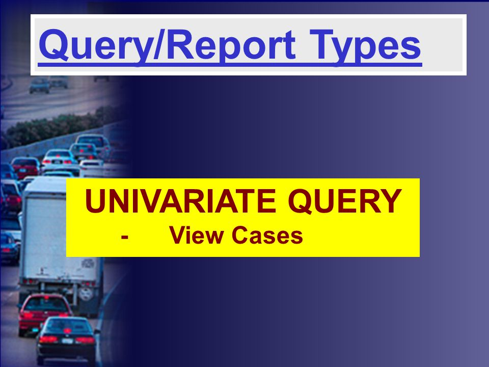 UNIVARIATE QUERY -View Cases Query/Report Types