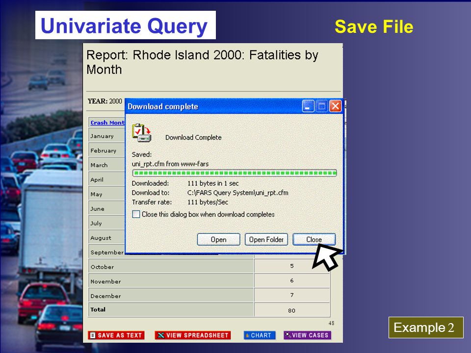Univariate Query Save File Example 2 48