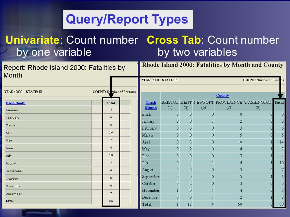 Cross Tab: Count number by two variables Univariate: Count number by one variable Query/Report Types