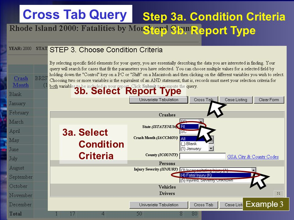 3a. Select Condition Criteria 3b. Select Report Type Step 3a.