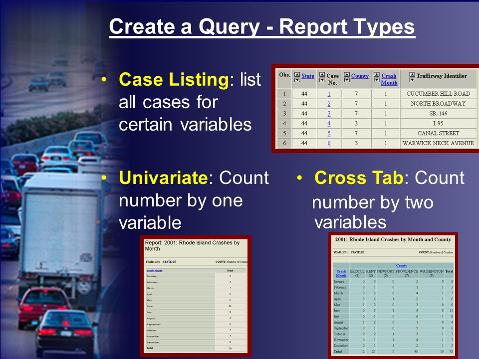 Create a Query - Report Types Univariate: Count number by one variable Case Listing: list all cases for certain variables Cross Tab: Count number by two variables