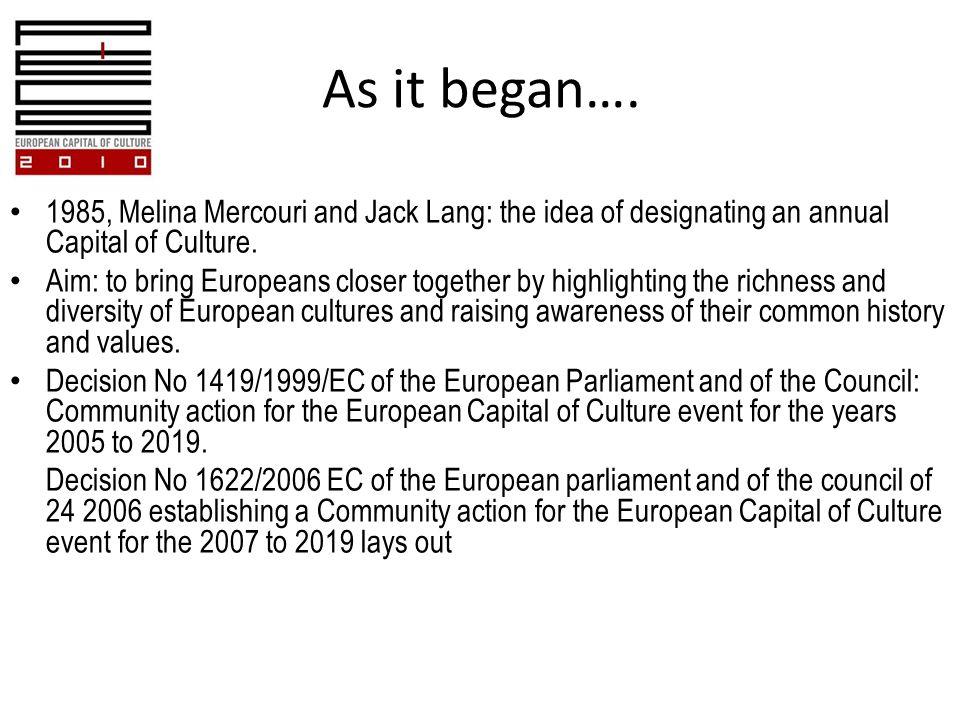As it began….