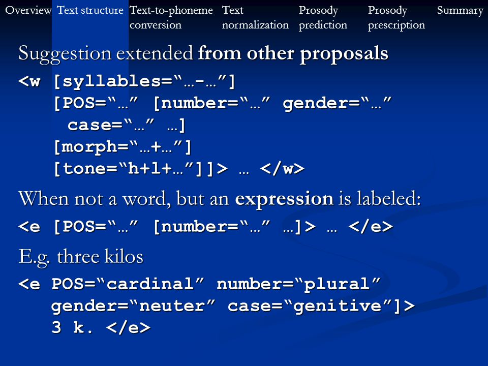 OverviewText-to-phoneme conversion Text structureProsody prescription SummaryText normalization Prosody prediction Suggested word element … … E.g.