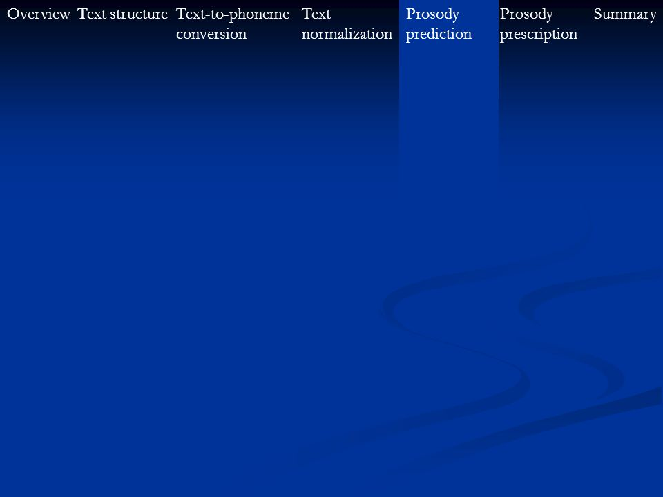 OverviewText-to-phoneme conversion Text structureProsody prescription SummaryText normalization Prosody prediction Text normalization effectively assi