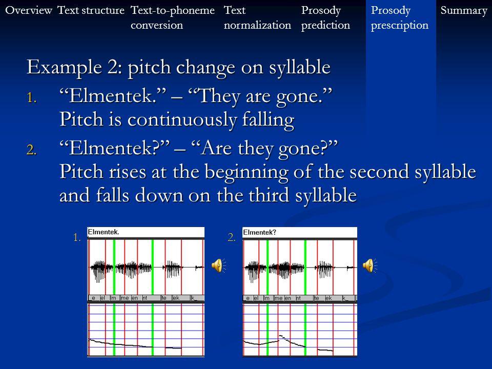 OverviewText-to-phoneme conversion Text structureProsody prescription SummaryText normalization Prosody prediction Example 1: contrastive sentences En