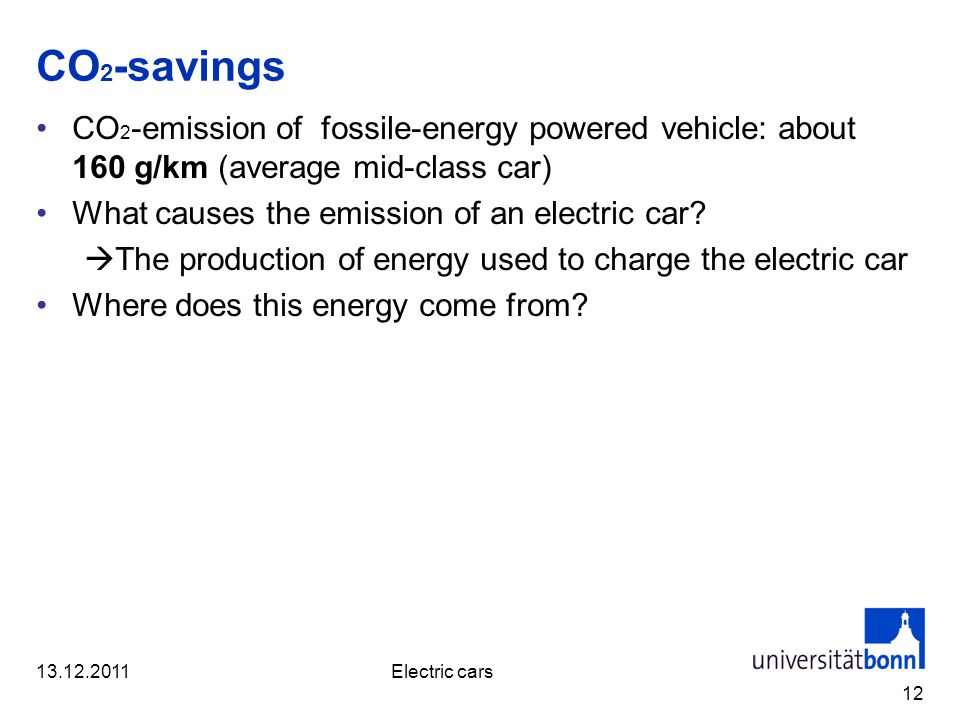 CO 2 -savings CO 2 -emission of fossile-energy powered vehicle: about 160 g/km (average mid-class car) What causes the emission of an electric car.