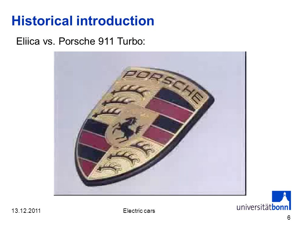 Historical introduction 6 Eliica vs. Porsche 911 Turbo: 13.12.2011Electric cars