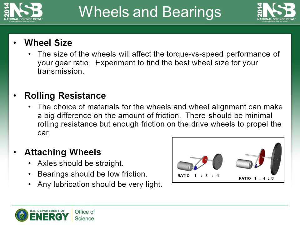 Wheels and Bearings Wheel Size The size of the wheels will affect the torque-vs-speed performance of your gear ratio.