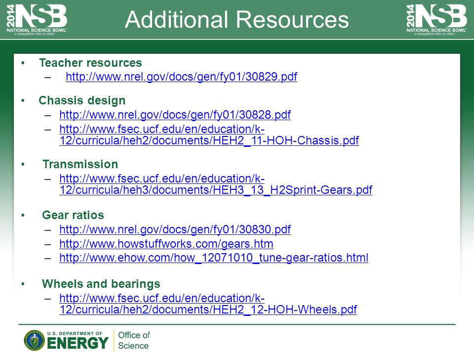 Additional Resources Teacher resources – http://www.nrel.gov/docs/gen/fy01/30829.pdfhttp://www.nrel.gov/docs/gen/fy01/30829.pdf Chassis design –http://www.nrel.gov/docs/gen/fy01/30828.pdfhttp://www.nrel.gov/docs/gen/fy01/30828.pdf –http://www.fsec.ucf.edu/en/education/k- 12/curricula/heh2/documents/HEH2_11-HOH-Chassis.pdfhttp://www.fsec.ucf.edu/en/education/k- 12/curricula/heh2/documents/HEH2_11-HOH-Chassis.pdf Transmission –http://www.fsec.ucf.edu/en/education/k- 12/curricula/heh3/documents/HEH3_13_H2Sprint-Gears.pdfhttp://www.fsec.ucf.edu/en/education/k- 12/curricula/heh3/documents/HEH3_13_H2Sprint-Gears.pdf Gear ratios –http://www.nrel.gov/docs/gen/fy01/30830.pdfhttp://www.nrel.gov/docs/gen/fy01/30830.pdf –http://www.howstuffworks.com/gears.htmhttp://www.howstuffworks.com/gears.htm –http://www.ehow.com/how_12071010_tune-gear-ratios.htmlhttp://www.ehow.com/how_12071010_tune-gear-ratios.html Wheels and bearings –http://www.fsec.ucf.edu/en/education/k- 12/curricula/heh2/documents/HEH2_12-HOH-Wheels.pdfhttp://www.fsec.ucf.edu/en/education/k- 12/curricula/heh2/documents/HEH2_12-HOH-Wheels.pdf