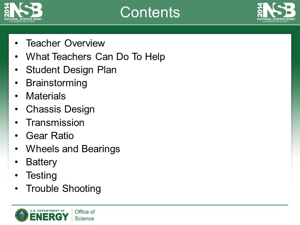 Contents Teacher Overview What Teachers Can Do To Help Student Design Plan Brainstorming Materials Chassis Design Transmission Gear Ratio Wheels and B